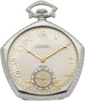 Timepieces:Pocket (post 1900), Gruen Rare 50th Anniversary Gold Pocket Watch, circa 1940's. ...