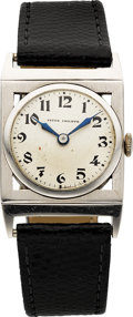 Timepieces:Wristwatch, Patek Philippe Vintage Platinum Wristwatch, circa 1920's. ...