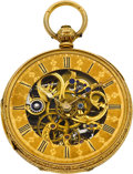 Timepieces:Pocket (pre 1900) , K. Zimmerman Liverpool Fine & Unusual Gold Skeletonized WatchWith T. Dunn's Special Patented Caliber No. 3, circa 1860. ...