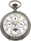 Timepieces:Pocket (pre 1900) , Swiss Sterling Moon Phase Calendar Pocket Watch, circa 1890. ...