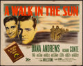 "Movie Posters:War, A Walk in the Sun (20th Century Fox, 1946). Half Sheet (22"" X 28"").War.. ..."