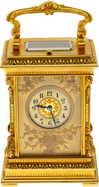French Very Fine Eight Day Hour & Half-Hour Striking Carriage Clock With Repeating