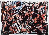 A.R. PENCK (German, b. 1939) Untitled (two works), circa 1990 Lithographs in colors Each 25 x 36