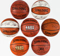 Basketball Collectibles:Balls, San Antonio Spurs and Six Other Teams Signed Basketballs Lot of 7....