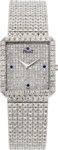 Timepieces:Wristwatch, Piaget Protocole Exceptional 18k White Gold Diamond & Sapphire Wristwatch. ...
