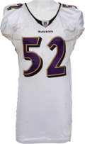 Football Collectibles:Uniforms, 2009 Ray Lewis Game Worn (Unwashed) Baltimore Ravens Jersey - Provenance from Bryan Cox! ...