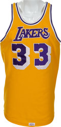 Basketball Collectibles:Uniforms, Mid 1980's Kareem Abdul Jabbar Game Worn Los Angeles LakersJersey....