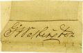 "Autographs:U.S. Presidents, George Washington Signature ""G:o Washington"" on irregularly cut slip of paper, expertly inlaid to 3.5"" x 2.5"". Lightly t... (Total: 1 Item)"