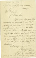 "Autographs:Artists, American Painter Rembrandt Peale Autograph Letter Signed, one page, 5"" x 7.75"", n.p., May 15, 1857, to a Mr. Durand. The let..."