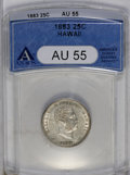 Coins of Hawaii: , 1883 25C Hawaii Quarter AU55 ANACS. NGC Census: (25/503). PCGSPopulation (55/891). Mintage: 500,000. (#10987)...