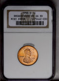 Errors: , 1998-D 1C Lincoln Cent--Broadstruck--MS66 Red NGC....