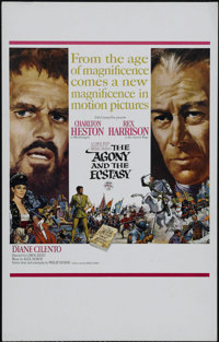 "The Agony and the Ecstasy (20th Century Fox, 1965). Window Card (14"" X 22""). Drama. Directed by Carol Reed. St..."