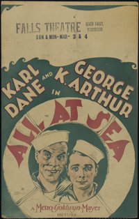 "All at Sea (MGM, 1929). Window Card (14"" X 22""). Comedy. Directed by Alfred J. Goulding. Starring Karl Dane, G..."