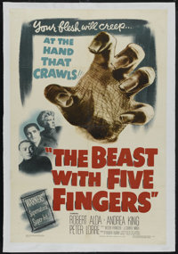"""The Beast with Five Fingers (Warner Brothers, 1946). One Sheet (27"""" X 41""""). Horror. Directed by Robert Florey..."""