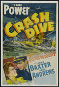 """Movie Posters:War, Crash Dive (20th Century Fox, 1943). One Sheet (27"""" X 41""""). Drama.Directed by Archie Mayo. Starring Tyrone Power, Anne Baxt..."""