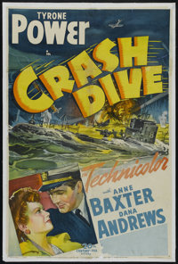 "Crash Dive (20th Century Fox, 1943). One Sheet (27"" X 41""). Drama. Directed by Archie Mayo. Starring Tyrone Po..."