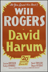 """David Harum (Fox, R-1949). One Sheet (27"""" X 41""""). Comedy. Directed by James Cruze. Starring Will Rogers, Louis..."""