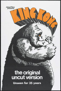 "King Kong (RKO, R-1968). One Sheet (27"" X 41""). Action. Directed by Merian C. Cooper and Ernest B. Schoedsack..."