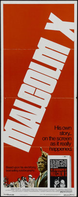 """Malcolm X (Warner Brothers, 1972). Insert (14"""" X 36""""). Documentary. Directed by Arnold Perl. Starring James Ea..."""