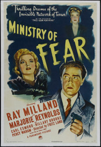 """Ministry of Fear (Paramount, 1944). One Sheet (27"""" X 41""""). Thriller. Directed by Fritz Lang. Starring Ray Mill..."""