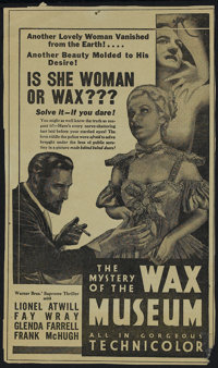 """The Mystery of the Wax Museum (Warner Brothers, 1933). Herald (6"""" X 10""""). Single Sided. Horror. Directed by Mi..."""