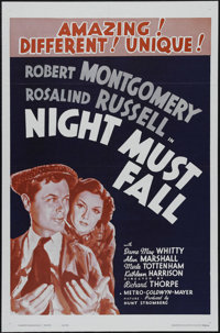 """Night Must Fall (MGM, R-1962). One Sheet (27"""" X 41""""). Thriller. Directed by Richard Thorpe. Starring Robert Mo..."""