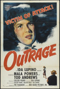 "Movie Posters:Drama, Outrage (RKO, 1950). One Sheet (27"" X 41""). Style A. Drama. Directed by Ida Lupino. Starring Mala Powers, Tod Andrews, Rober..."