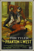 "The Phantom of the West (Mascot, 1931). One Sheet (27"" X 41""). Tri-folded. Serial. Directed by D. Ross Lederma..."