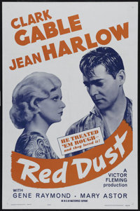 """Red Dust (MGM, R-1962). One Sheet (27"""" X 41""""). Drama. Directed by Victor Fleming. Starring Clark Gable, Jean H..."""