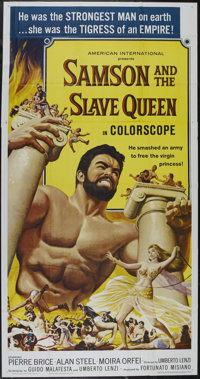 """Samson and the Slave Queen (AIP, 1963). Three Sheet (41"""" X 81""""). Adventure. Directed by Umberto Lenzi. Starrin..."""