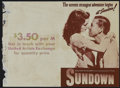 "Movie Posters:War, Sundown (United Artists, 1941). Herald (8.75"" X 12""). WarAdventure. Director: Henry Hathaway. Stars: Gene Tierney, BruceCa..."