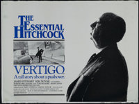 "Vertigo (Paramount, R-1983). British Quad (30"" X 40""). Thriller. Directed by Alfred Hitchcock. Starring James..."