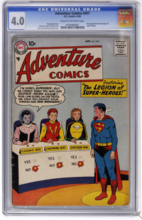 Adventure Comics #247 (DC, 1958) CGC VG 4.0 Cream to off-white pages. First appearance of the Legion of Super-Heroes. Fi...