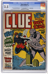 Clue Comics #1 (Hillman Publications, 1943) CGC VG- 3.5 Cream to off-white pages. Origin of Boy King, Nightmare, Micro-F...