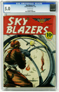 Golden Age (1938-1955):War, Sky Blazers #2 (Hawley Publications, 1940) CGC VG/FN 5.0 Off-white pages. World War II aerial battle cover. Overstreet 2005 ...