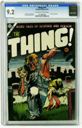 Golden Age (1938-1955):Horror, The Thing! #16 (Charlton, 1954) CGC NM- 9.2 Off-white to whitepages. Injury to eye panel. Dick Ayers, Joe Shuster, and Sam ...