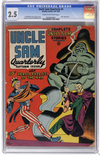 Uncle Sam Quarterly #4 (Quality, 1942) CGC GD+ 2.5 Cream to off-white pages. Hitler appearance. Gill Fox cover. George T...