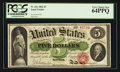 Large Size:Legal Tender Notes, Fr. 61a $5 1862 Legal Tender PCGS Very Choice New 64PPQ.. ...