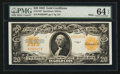 Large Size:Gold Certificates, Fr. 1187 $20 1922 Gold Certificate PMG Choice Uncirculated 64 EPQ.. ...