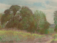 REVEAU BASSETT (American, 1897-1981) Grove of Trees and Tall Grass, Near Dallas, circa 1940 Pastel o