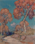 Texas:Early Texas Art - Regionalists, DAWSON DAWSON-WATSON (British/American, 1864-1939). A RoadThrough the Trees. Oil on canvas laid on board. 9-7/8 x 7-7/...