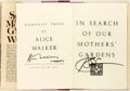 Books:Social Sciences, Alice Walker. SIGNED. In Search of Our Mothers' Gardens. NewYork: Harcourt Brace Jovanovich, [1983]. First edition,...