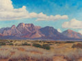 Texas:Early Texas Art - Regionalists, EUGENE BONFANTI THURSTON (American, 1896-1993). Valley View ofSuperstition Mountains. Oil on canvas with board backing...