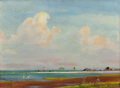 Texas:Early Texas Art - Regionalists, OLIN TRAVIS (American, 1888-1975). Rockport, Texas Beach andPastoral Scene (double-sided painting). Oil on board. 1...