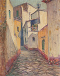 Texas:Early Texas Art - Regionalists, ROLLA SIMS TAYLOR (American, 1872-1970). Winding Ways ofGuanajuato, Mexico. Oil on masonite. 15-1/4 x 11-3/4 inches(38...