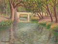 Texas:Early Texas Art - Regionalists, ROLLA SIMS TAYLOR (American, 1872-1970). Tree-Lined River with aWhite Bridge, San Antonio, 1906. Oil on canvas laid on ...