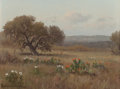 Texas:Early Texas Art - Regionalists, PORFIRIO SALINAS (American, 1910-1973). Lonely Oak andCacti. Oil on canvas. 9 x 12 inches (22.9 x 30.5 cm). Signedlowe...