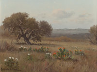 PORFIRIO SALINAS (American, 1910-1973) Lonely Oak and Cacti Oil on canvas 9 x 12 inches (22.9 x 3
