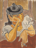 Texas:Early Texas Art - Modernists, KATHLEEN BLACKSHEAR (American, 1897-1988). Lady in a Hat.Watercolor and gouache on paper. 24-1/8 x 18-1/8 inches (61.3 ...