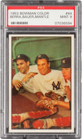 Baseball Cards:Singles (1950-1959), 1953 Bowman Color Berra, Bauer, Mantle #44 PSA Mint 9....